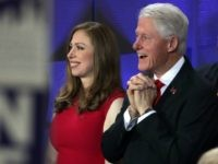 Chelsea Clinton and father, former US President Bill Clinton seen at the end of the fourth day of the Democratic National Convention at the Wells Fargo Center, July 28, 2016 in Philadelphia, Pa.