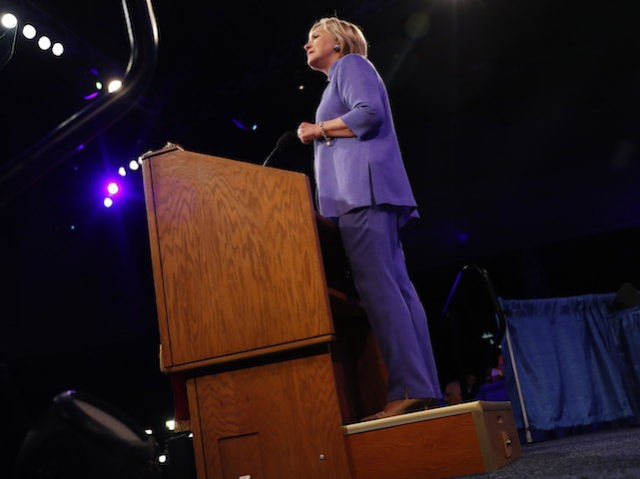CINCINNATI, OH - AUGUST 31:  Democratic presidential nominee Hillary Clinton speaks at the American Legion Convention August 31, 2016 in Cincinnati, Ohio. Clinton spoke about her vision for America's military and foreign policy.  (Photo by Aaron P. Bernstein/Getty Images)