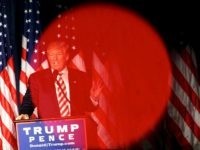 PHILADELPHIA, PA - SEPTEMBER 7:  Republican Presidential nominee Donald J. Trump is seen through the red light of a videographer's camera while delivering a speech at The Union League of Philadelphia on September 7, 2016 in Philadelphia, Pennsylvania.  Trump spoke about his plans to build up the military if elected. Recent national polls show the presidential race is tightening with two months until the election. (Photo by Mark Makela/Getty Images)