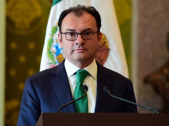 Mexico's resigning Secretary of Finance Luis Videgaray during a press conference at the Palacio Nacional in Mexico City on September 7, 2016.