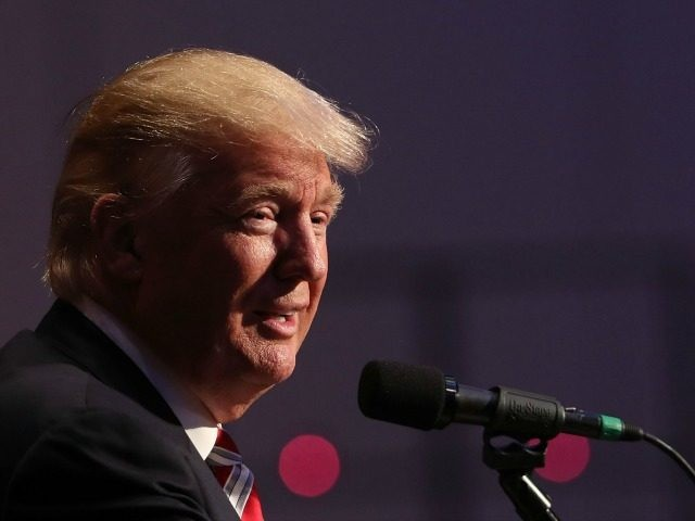 Republican presidential candidate Donald Trump speaks while accepting the Conservative Party of New York State's nomination for president on September 7, 2016 in New York City. Following the event Trump will take part in a forum with Hillary Clinton, to answer questions on veterans issues and national security. (Photo by