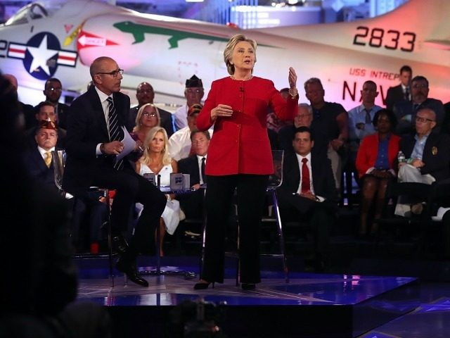 Matt Lauer looks on as Democratic presidential nominee Hillary Clinton speaks during the NBC News Commander-in-Chief Forum on September 7, 2016 in New York City. Clinton and Republican presidential nominee Donald Trump are participating in the NBC News Commander-in-Chief Forum. (Photo by