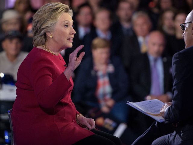 """Matt Lauer (R), co-host of """"The Today Show,"""" listens as Democratic presidential nominee Hillary Clinton answers a question during a veterans forum aboard the aircraft carrier USS Intrepid September 7, 2016 in New York, New York. / AFP / Brendan Smialowski (Photo credit should read BRENDAN SMIALOWSKI/AFP/Getty Images)"""