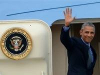 Barack Obama waves as he boards Air Force One following the closing ceremony of the Association of Southeast Asian Nations (ASEAN), at the Wattay International Airport in Vientiane on September 8, 2016. ASEAN leaders gather in Vientiane for the 28th and 29th ASEAN Summits held between September 6 to 8. …