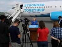Democratic presidential nominee former Secretary of State Hillary Clinton speaks to reporters on the tarmac at Westchester County Airport on September 8, 2016 in White Plains, New York.
