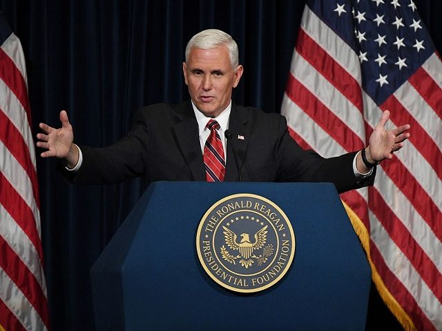 US Vice Presidential Candidate Mike Pence speaks to Republicans at the Ronald Reagan Presidential Library in Simi Valley, California on September 8, 2016. / AFP / Mark RALSTON (Photo credit should read MARK RALSTON/AFP/Getty Images)