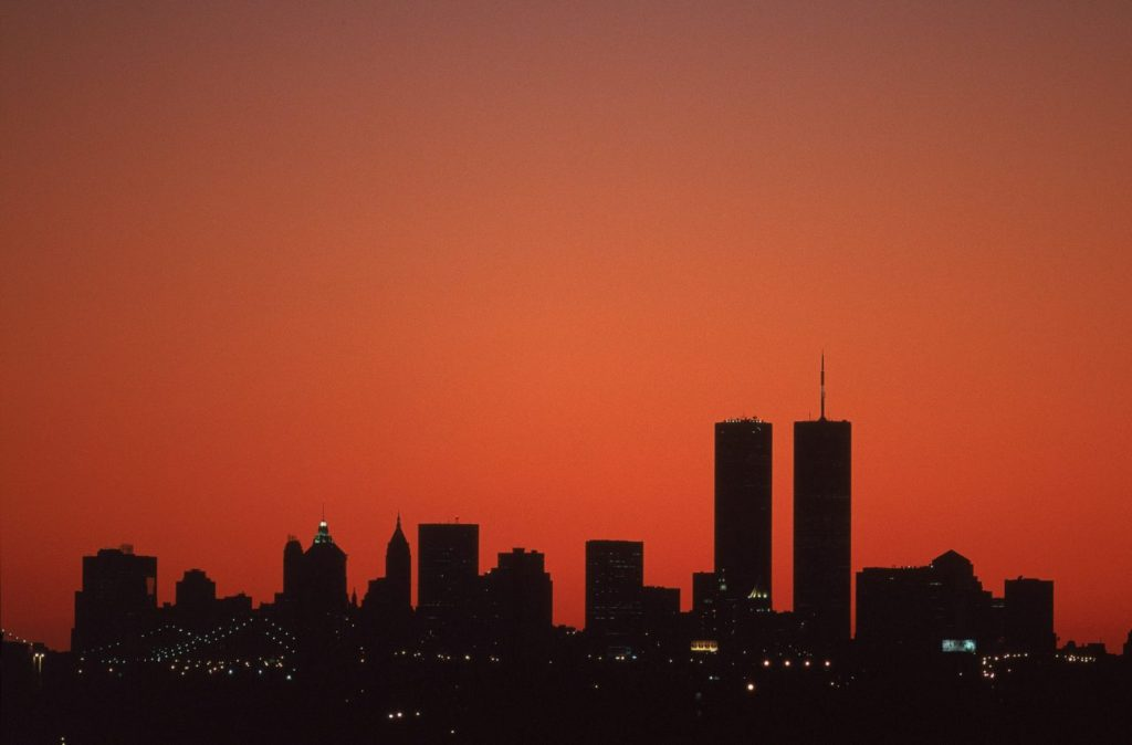 5 Sep 2001: The view of the New York skyline with the World Trade Center at sunset taken from the US Open at the UATA National Tennis Center in Flushing, New York.Mandatory Credit: Jamie Squire /Allsport