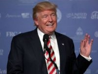 Republican presidential candidate Donald Trump addresses the Values Voter Summit at the Omni Shoreham September 9, 2016 in Washington, DC. Hosted by the Family Research Council, the summit is an annual gathering of social and political conservatives. During the summit's 2015 presidential straw poll, Trump placed fifth with only 5% of the vote. (Photo by