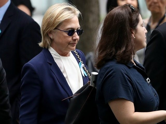 Hillary Clinton at the September 11 Commemoration Ceremony on September 11, 2016 in New York City.