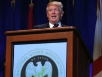 Donald Trump addresses the National Guard Association of the United States' 138th general conference & exhibition, September 12, 2016 in Baltimore, Maryland.