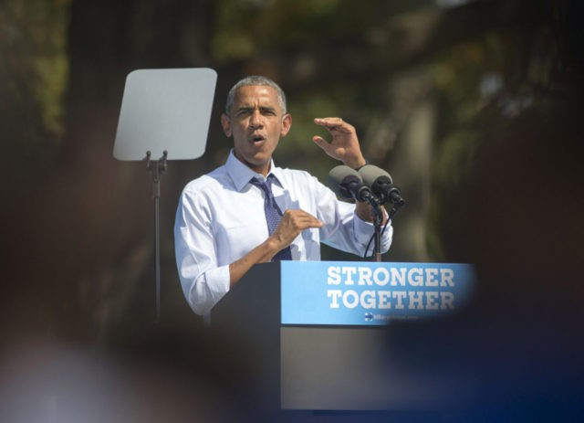 PHILADELPHIA, PA - SEPTEMBER 13: U.S. President Barack Obama campaigns for Democratic nominee Hillary Clinton on September 13, 2016 outside the art museum in Philadelphia, Pennsylvania. Hillary Clinton stayed home to rest Monday after she called off a fundraising event and the rest of her planned travel in California this …