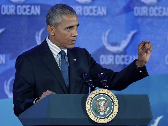President Barack Obama talks about snorkeling at the Our Oceans conference at the State Department September 15, 2016 in Washington, DC.