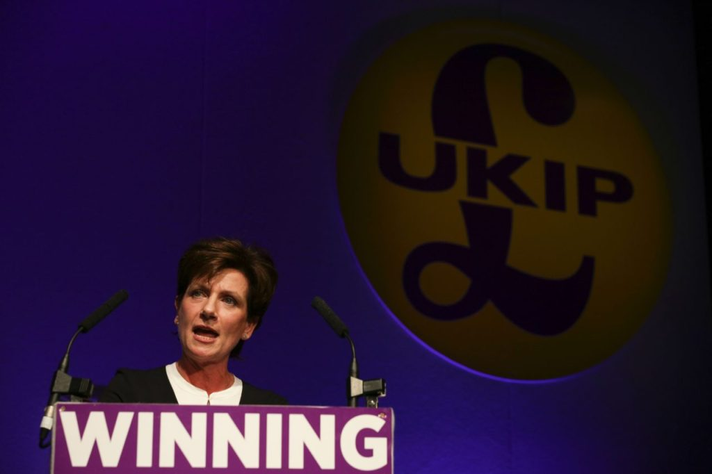 New leader of the anti-EU UK Independence Party (UKIP) Diane James gives an address at the UKIP Autumn Conference in Bournemouth, on the southern coast of England, on September 16, 2016. Diane James was announced as UKIP's new leader on September 16 to replace charismatic figurehead Nigel Farage. Farage made the shock decision to quit as leader of the UK Independence Party following victory in the referendum on Britain's membership of the European Union. / AFP / DANIEL LEAL-OLIVAS (Photo credit should read DANIEL LEAL-OLIVAS/AFP/Getty Images)
