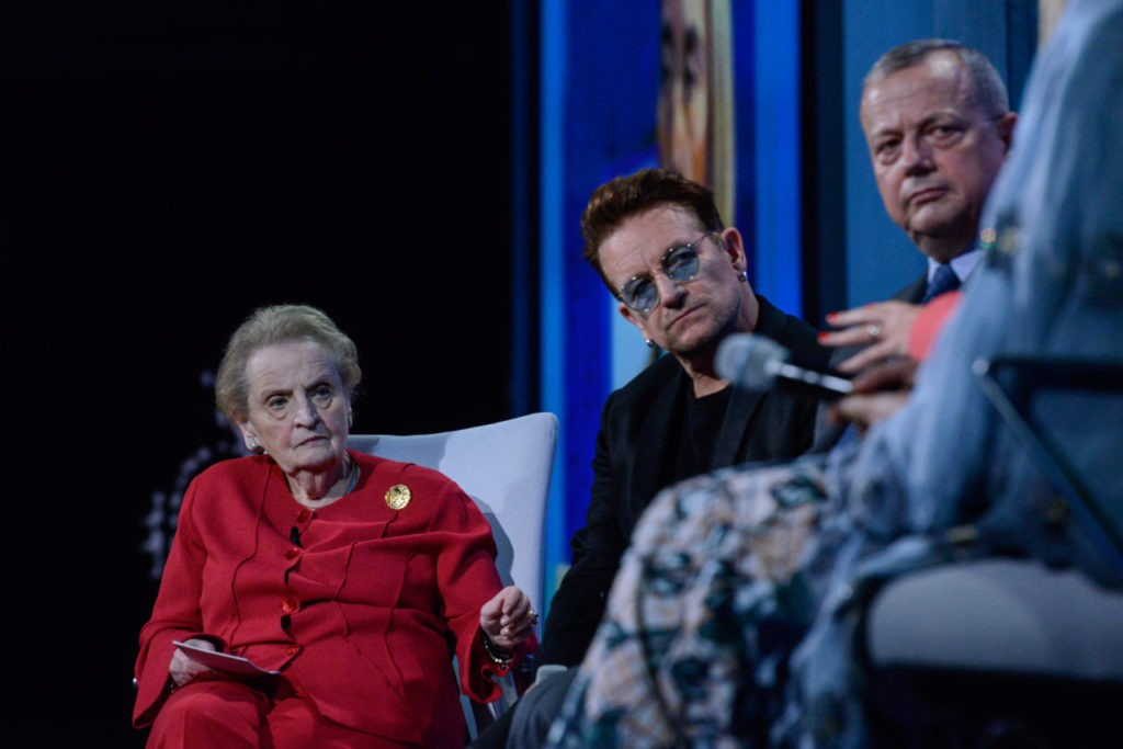 Former secretary of state Madeleine Albright moderates a discussion sitting next to singer Bono of U2 during the Clinton Global Initiative Annual Meeting at the Sheraton New York Times Square Hotel on September 19, 2016 in New York City. (Stephanie Keith/Getty Images)
