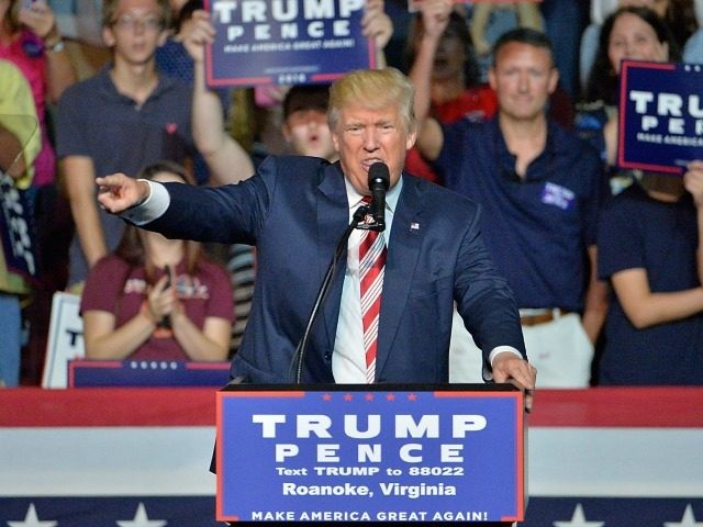 Republican presidential nominee Donald Trump speaks during a campaign event at the Berglund Center on September 24, 2016 in Roanoke, Virginia. Trump spoke about lowering taxes and encouraging job growth during his last speech ahead of the first presidential debate with Democratic Presidential nominee Hillary Clinton on September 26. (Photo …