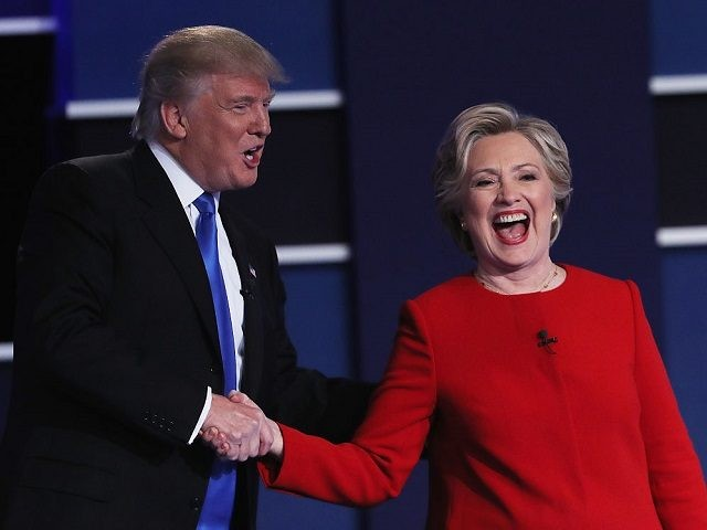 Republican presidential nominee Donald Trump and Democratic presidential nominee Hillary Clinton shake hands after the Presidential Debate at Hofstra University on September 26, 2016 in Hempstead, New York. The first of four debates for the 2016 Election, three Presidential and one Vice Presidential, is moderated by NBC's Lester Holt.