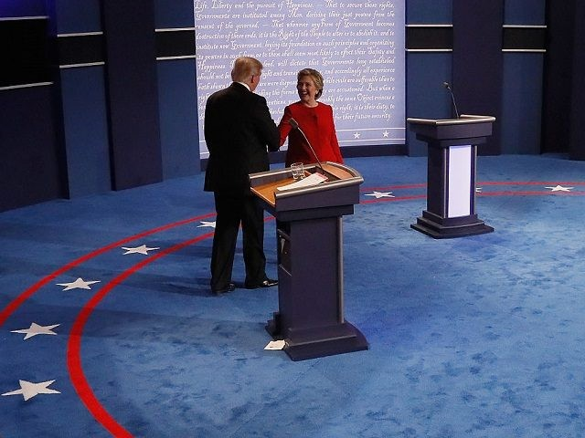 HEMPSTEAD, NY - SEPTEMBER 26: during the Presidential Debate at Hofstra University on September 26, 2016 in Hempstead, New York. The first of four debates for the 2016 Election, three Presidential and one Vice Presidential, is moderated by NBC's Lester Holt. (Photo by Rick Wilking - Pool/Getty Images)