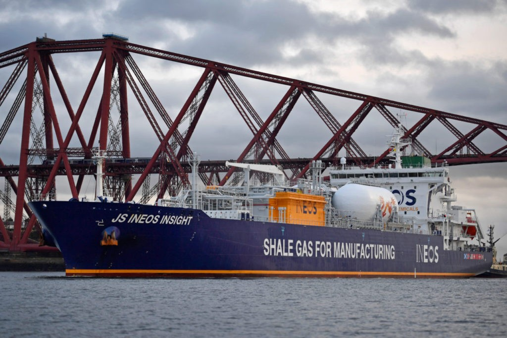 GRANGEMOUTH, SCOTLAND - SEPTEMBER 27:  JS INEOS Insight, the first ship carrying shale gas from the US, arrives in the Firth of Forth en route to Grangemouth Oil refinery on September 27, 2016 in Edinburgh, Scotland. The tanker is the first of eight shipping ethane from US shale fields, in a two billion dollar investment by chemical company INEOS.  (Photo by Jeff J Mitchell/Getty Images)