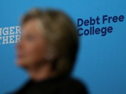 Democratic presidential nominee former Secretary of State Hillary Clinton looks on during a campaign rally with U.S. Sen. Bernie Sanders (I-VT) at University of New Hampshire on September 28, 2016 in Durham, New Hampshire.