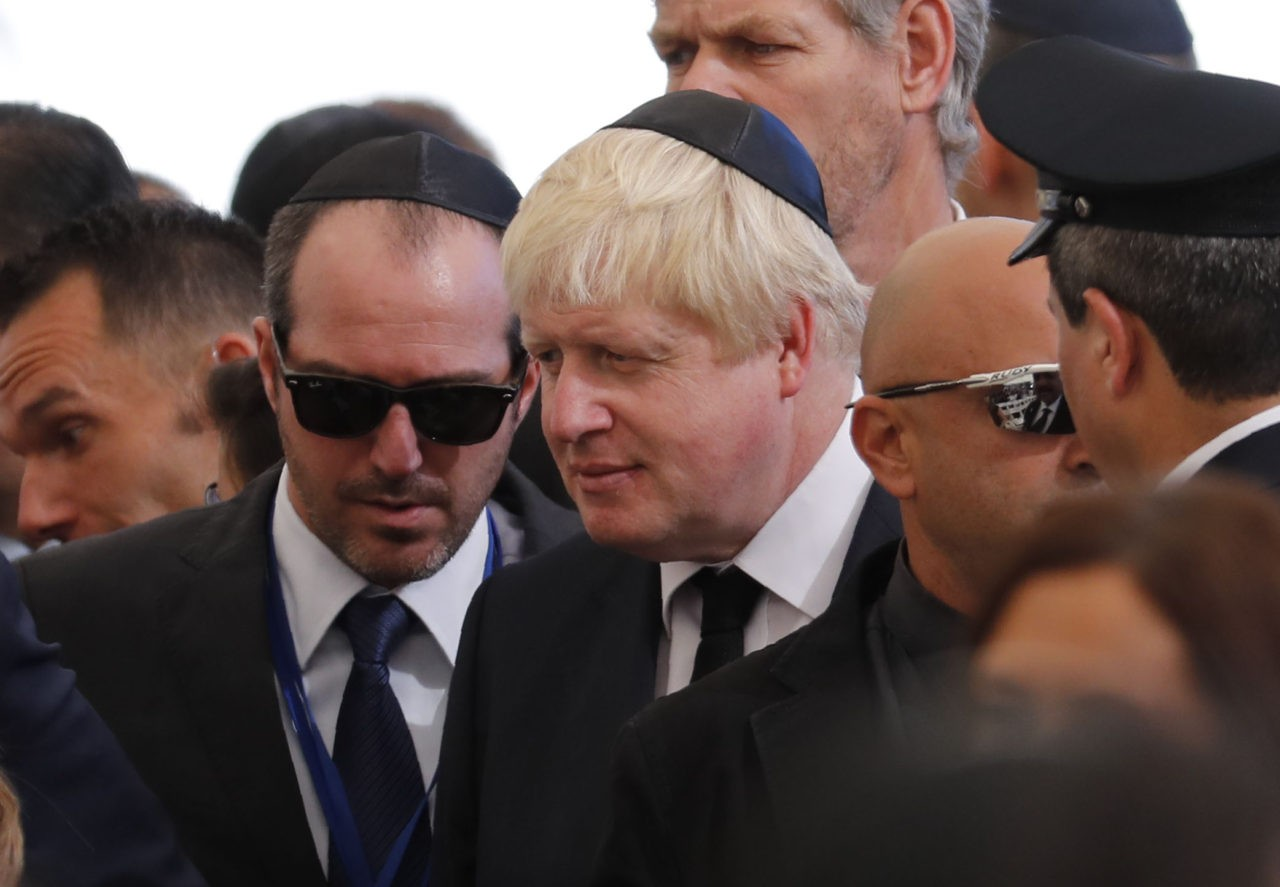 British Foreign Minister Boris Johnson attends the funeral of former Israeli president and Nobel Peace Prize winner Shimon Peres at Jerusalem's Mount Herzl national cemetery on September 30, 2016. Peres's death on September 28 at age 93 after suffering a major stroke triggered an outpouring of grief and tributes that hailed the Israeli ex-president's transformation from hawk to fervent peace advocate. / AFP / Thomas COEX (Photo credit should read THOMAS COEX/AFP/Getty Images)