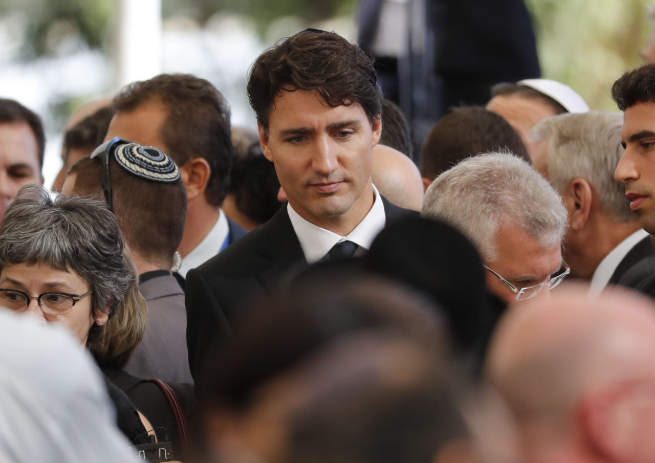 Canadian Prime Minister Justin Trudeau attends the funeral of former Israeli president and Nobel Peace Prize winner Shimon Peres at Jerusalem's Mount Herzl national cemetery on September 30, 2016. Peres's death on September 28 at age 93 after suffering a major stroke triggered an outpouring of grief and tributes that hailed the Israeli ex-president's transformation from hawk to fervent peace advocate. / AFP / Thomas COEX (Photo credit should read THOMAS COEX/AFP/Getty Images)