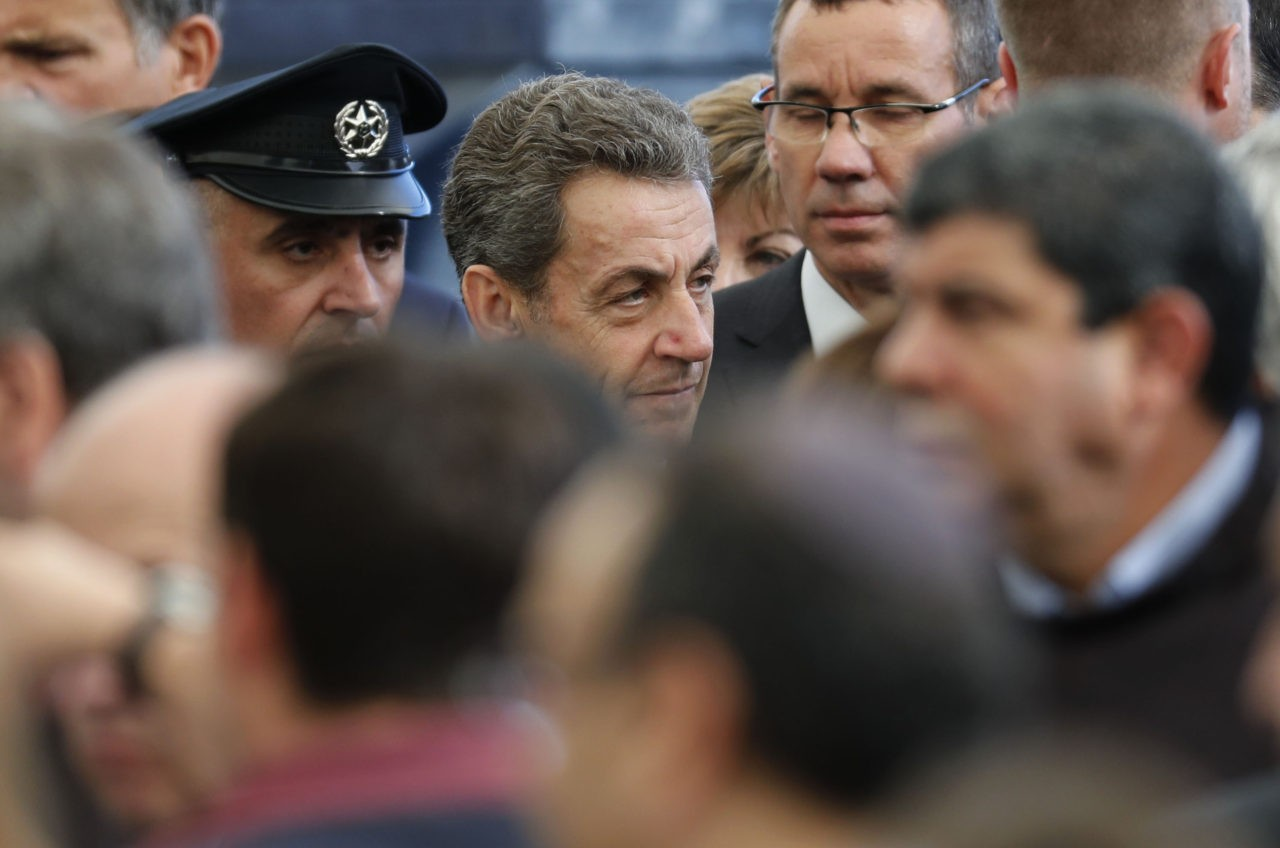 Former French president Nicolas Sarkozy is seen during the funeral of former Israeli president and Nobel Peace Prize winner Shimon Peres at Jerusalem's Mount Herzl national cemetery on September 30, 2016. World leaders including US President Barack Obama and Prince Charles were bidding farewell to Peres as his funeral began under massive security. / AFP / Thomas COEX (Photo credit should read THOMAS COEX/AFP/Getty Images)