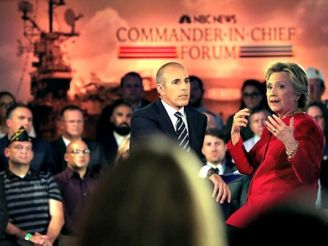 Democratic presidential nominee former Secretary of State Hillary Clinton during the NBC News Commander-in-Chief Forum on September 7, 2016 in New York City.
