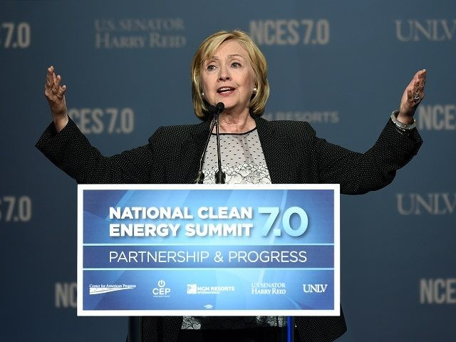 LAS VEGAS, NV - SEPTEMBER 04: Former Secretary of State Hillary Clinton speaks at the National Clean Energy Summit 7.0 at the Mandalay Bay Convention Center on September 4, 2014 in Las Vegas, Nevada. Political and economic leaders are attending the summit to discuss a domestic policy agenda to advance …