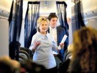 Hillary on her plane, gaggle Andrew HarnickAP