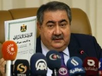 Iraqi Finance Minister Hoshyar Zebari speaks during a press conference during which he is expected to address the contentious issue of revenue sharing between Baghdad and the autonomous region of Kurdistan on February 26, 2015 in Baghdad. AFP PHOTO / ALI AL-SAADI (Photo credit should read ALI AL-SAADI/AFP/Getty Images)