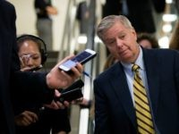WASHINGTON, DC - MAY 9: Sen. Lindsey Graham (R-SC) speaks with reporters after a vote at the U.S. Capitol, May 9, 2016, in Washington, DC. Senate Democrats defeated a procedural vote on an energy bill, which increases funding for the Department of Energy and Army Corps of Engineers. (Photo by …