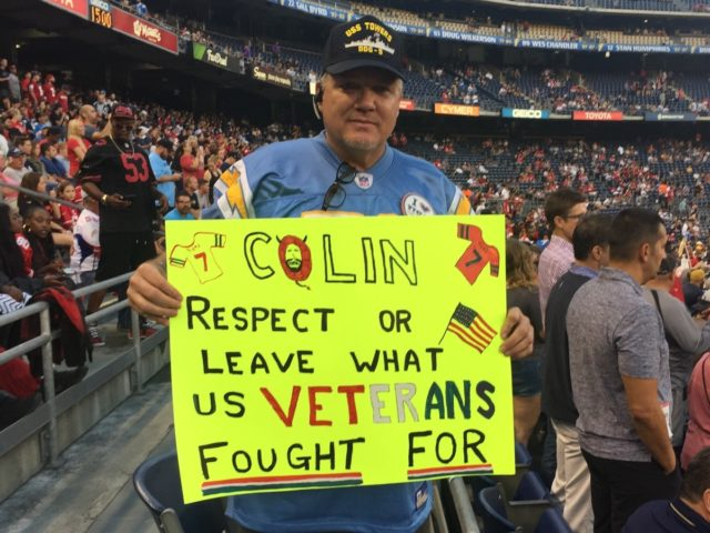 Navy veteran McCallum Kaepernick protest (Michelle Moons / Breitbart News)