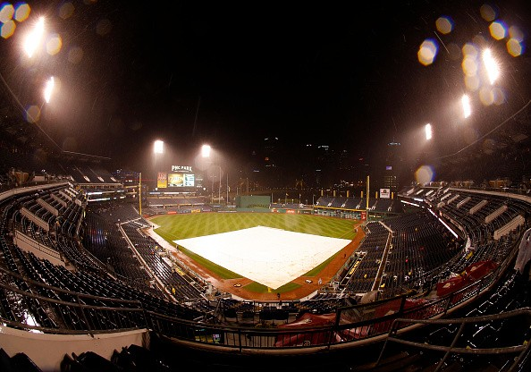 PITTSBURGH, PA - SEPTEMBER 29: A general view of PNC Park during a rain delay in the sixth inning during the game between the Chicago Cubs and the Pittsburgh Pirates at PNC Park on September 29, 2016 in Pittsburgh, Pennsylvania. (Photo by Justin K. Aller/Getty Images)
