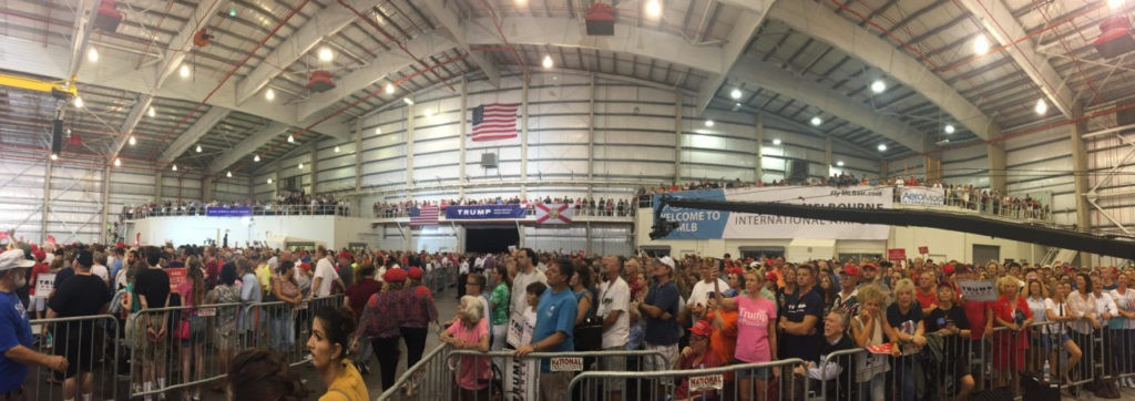 Panoramic Shot of Trump Rally Crowd, Melbourne, FL