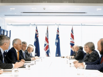 British Prime Minister Theresa May meets Australian Prime Minister Malcolm Turnbull during a bilateral meeting at the sidelines of G20 Summit in Hangzhou