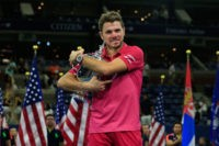 NEW YORK, NY - SEPTEMBER 11: Stan Wawrinka of Switzerland celebrates with the trophy after winning 6-7, 6-4, 7-5, 6-3 against Novak Djokovic of Serbia during their Men's Singles Final Match on Day Fourteen of the 2016 US Open at the USTA Billie Jean King National Tennis Center on September …