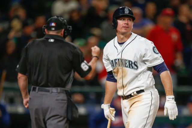 SEATTLE, WA - MAY 28: Steve Clevenger #32 of the Seattle Mariners heads back to the dugout after striking out with two runners on base to end the fifth inning against the Minnesota Twins at Safeco Field on May 28, 2016 in Seattle, Washington. (Photo by Otto Greule Jr/Getty Images)