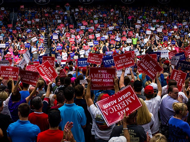 AKRON, OH - AUGUST 22: Republican Presidential candidate Donald Trump addresses supporters at the James A. Rhodes Arena on August 22, 2016 in Akron, Ohio. Trump currently trails Democratic Presidential candidate Hillary Clinton in Ohio, a state which is critical to his election bid. (Photo by Angelo Merendino/Getty Images)