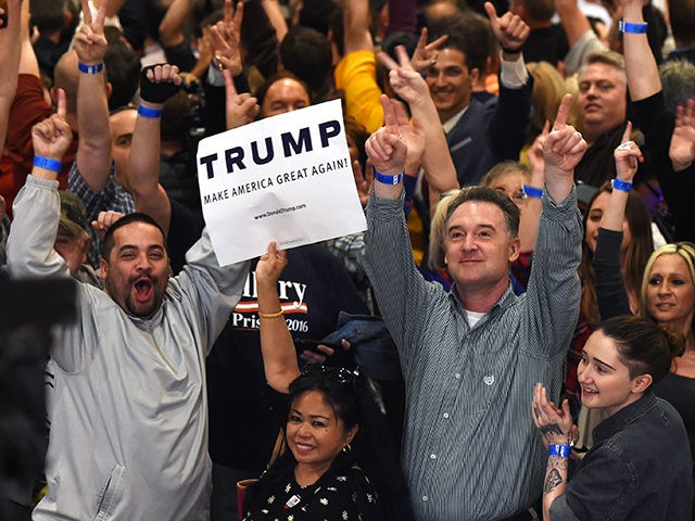 LAS VEGAS, NV - FEBRUARY 23: Supporters cheer while waiting for Republican presidential candidate Donald Trump to speak at a caucus night watch party at the Treasure Island Hotel & Casino on February 23, 2016 in Las Vegas, Nevada. The New York businessman won his third state victory in a row in the 'first in the West' caucuses. (Photo by Ethan Miller/Getty Images)
