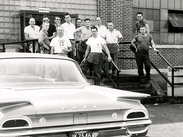 Workers outside the Warner Gear plant in the 1960s. (Reuters/Courtesy of Ball State University Libraries)