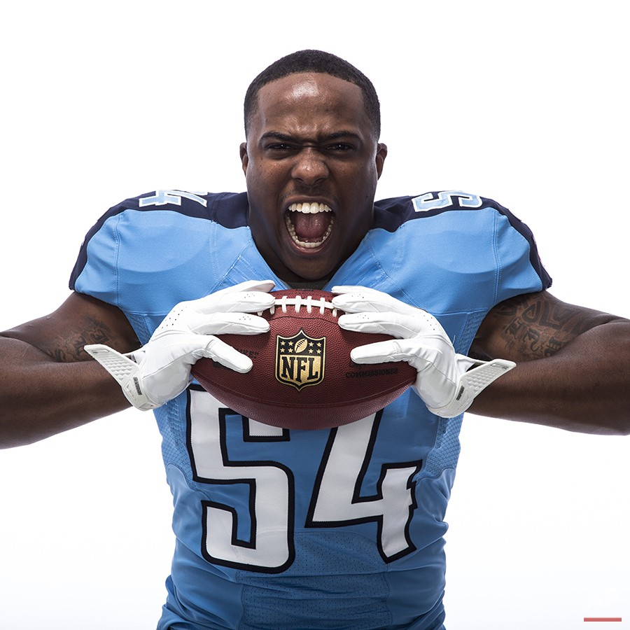 Tennessee Titans linebacker Avery Williamson (54) poses for a portrait during the NFLPA Rookie Premiere on Saturday, May 31, 2014 in Los Angeles. (Ric Tapia/AP Images for NFL Players Inc.)