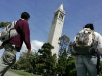BERKELEY, CA - APRIL 17: UC Berkeley students walk by Sather Tower on the UC Berkeley campus April 17, 2007 in Berkeley, California. Robert Dynes, President of the University of California, said the University of California campuses across the state with reevaluate security and safety policies in the wake of …
