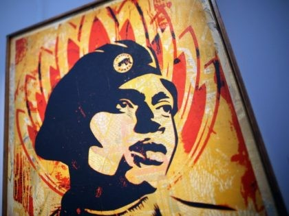 A piece of work entitled Black Panther' by Shepard Fairey at Bonhams Auction house on September 16, 2011 in London, England. The piece makes up part of the 'Urban Art' sale, and is expected to fetch between £3,000 - £5,000 GBP when it goes under the hammer on September 21, …
