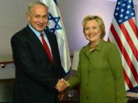 NEW YORK, NY - SEPTEMBER 25: In this handout provided by the Israeli Government Press Office, Prime Minister Benjamin Netanyahu shakes hands with Democratic nominee for U.S. president Hillary Clinton at the W Hotel in Union Square September 26, 2016 in New York City. The prime minister met earlier with …