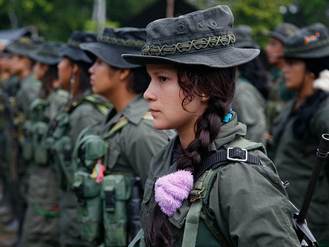 FILE - In this Aug. 16, 2016, file photo, rebels soldiers of the 32nd Front of the Revolutionary Armed Forces of Colombia, or FARC, stand in formation in the southern jungles of Putumayo, Colombia. A historic peace deal to end the conflict between the FARC and the Colombian government must …