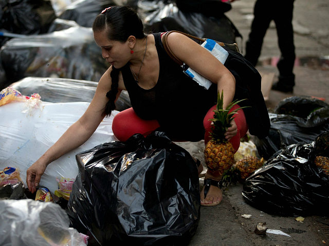 This June 2, 2016 photo shows a pregnant woman who did not want to be named, holding a pineapple in one hand as she continues to pick through garbage bags outside a supermarket in downtown Caracas, Venezuela. Unemployed people converge every dusk at the trash heap to pick through rotten fruit and vegetables tossed out by nearby shops. (AP Photo/Fernando Llano)