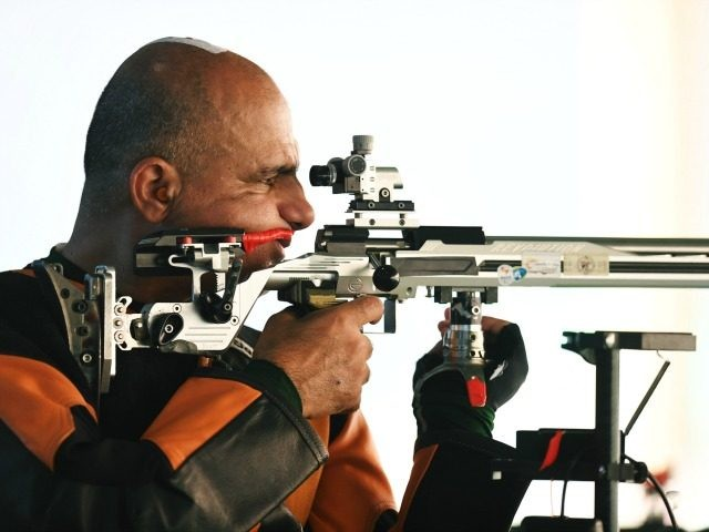 RIO DE JANEIRO, BRAZIL - SEPTEMBER 12: Doron Shaziri of Israel competes in the men's 50m rifle 3 positions SH1 on day 5 of the Rio 2016 Paralympic Games at Olympic shooting centre on September 12, 2016 in Rio de Janeiro, Brazil. (Photo by Atsushi Tomura/Getty Images for Tokyo 2020)