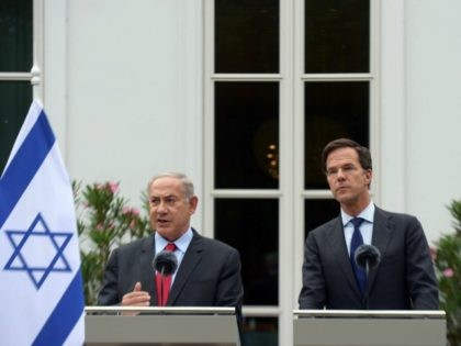 HAGUE, NETHERLANDS - SEPTEMBER 6: (ISRAEL-OUT) In this handout photo provided by the Israel Government Press Office, Israeli Prime Minister Benjamin Netanyahu meets with Dutch Prime Minister Mark Rutte for a joint press conference on September 6, 2016 in The Hague, Netherlands. (Photo by Amos Ben Gershom/GPO via Getty Images)
