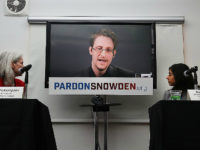 NEW YORK, NY - SEPTEMBER 14: Edward Snowden speaks via video link at a news conference for the launch of a campaign calling for President Obama to pardon him on September 14, 2016 in New York City. The campaign, which includes representatives from the American Civil Liberties Union, Human Rights …