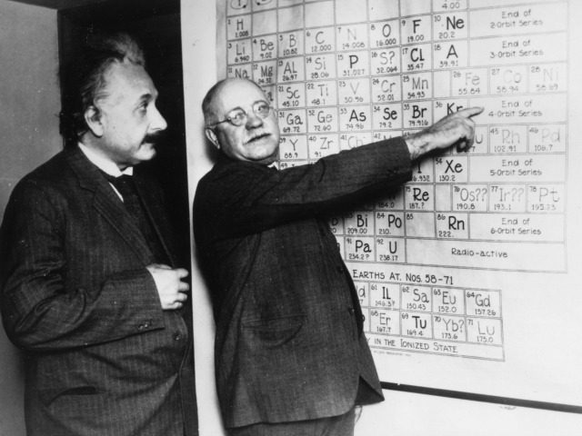 circa 1925: Albert Einstein (1879 - 1955) with the astronomer Dr J A Miller at Spoul de Swartmore Observatory. (Photo by Keystone/Getty Images)